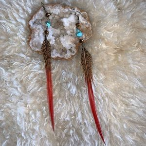 Faux Feather & Turquoise Earrings